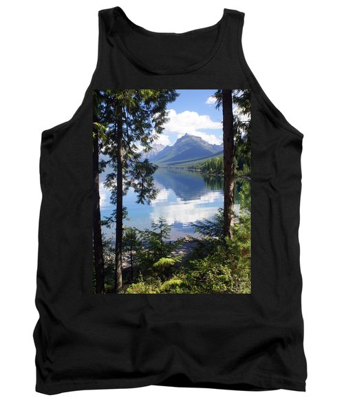 Lake Mcdlonald Through The Trees Glacier National Park Tank Top