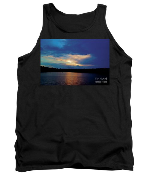 Tank Top featuring the painting Lake Sunset by Debra Crank