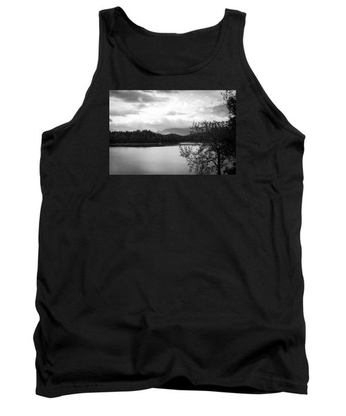 Landscape In Black And White Nantahala River Blue Ridge Mountains Tank Top by Kelly Hazel