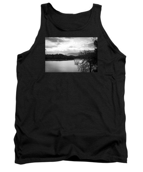 Landscape In Black And White Nantahala River Blue Ridge Mountains Tank Top