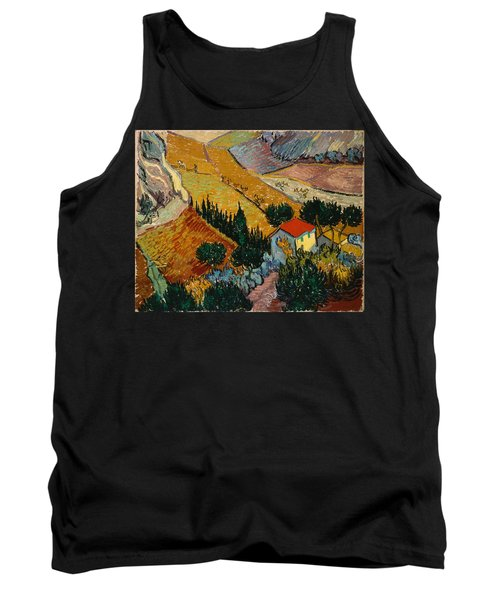 Tank Top featuring the painting Landscape With House And Ploughman by Van Gogh