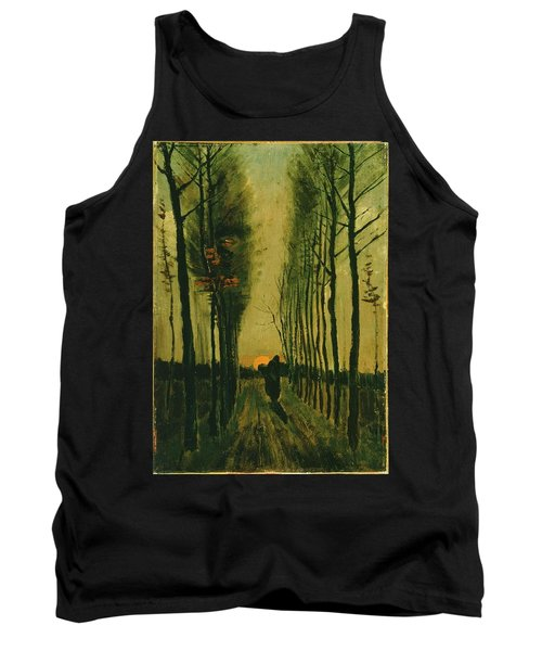 Tank Top featuring the painting Lane Of Poplars At Sunset by Van Gogh