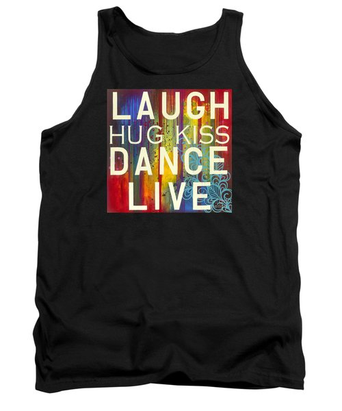Tank Top featuring the painting Laugh Hug Kiss Dance Live by Carla Bank