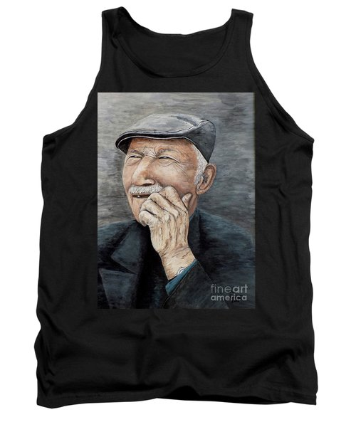 Tank Top featuring the painting Laughing Old Man by Judy Kirouac
