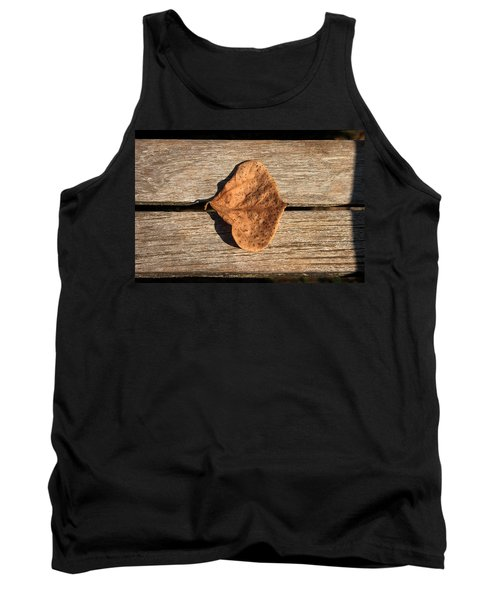 Leaf On Wooden Plank Tank Top