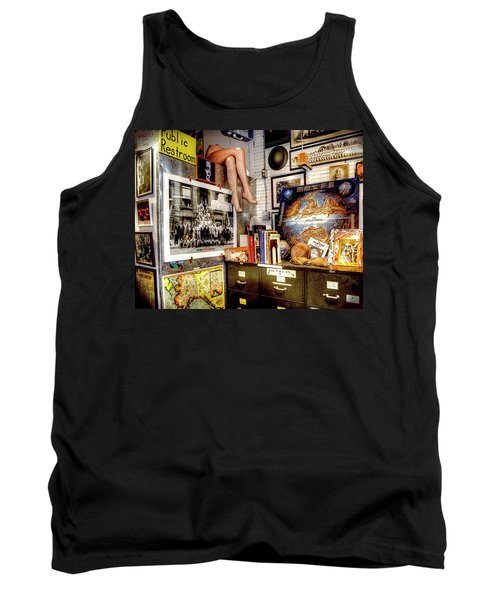 Legs In The Back Of The Shop Tank Top by Greg Sigrist