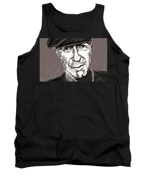 Tank Top featuring the painting Leonard Cohen  by Jim Vance