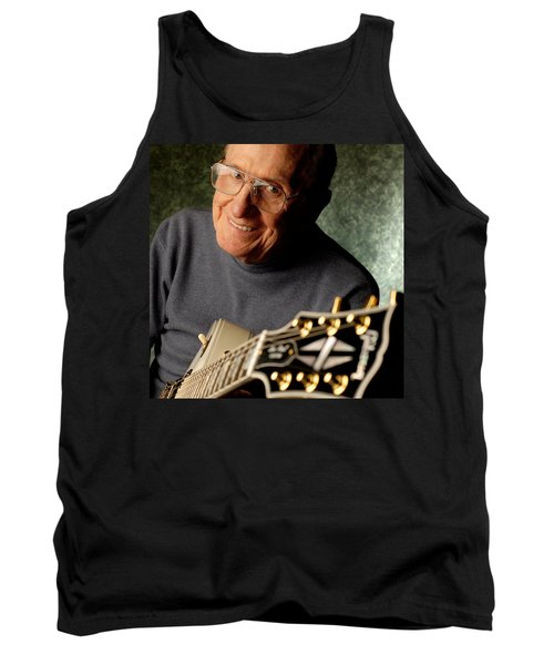 Les Paul With His White Gibson Les Paul Custom Guitar By Gene Martin Tank Top