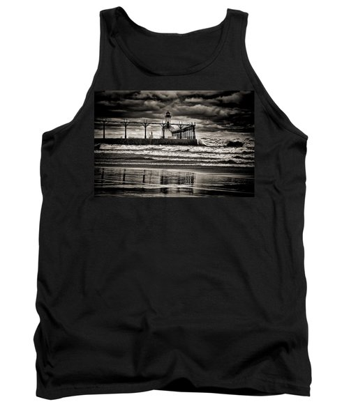 Lighthouse Reflections In Black And White Tank Top