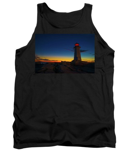 Lighthouse Sunset Tank Top by Andre Faubert