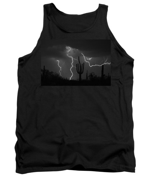 Lightning Storm Saguaro Fine Art Bw Photography Tank Top