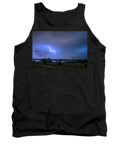 Tank Top featuring the photograph Lightning Striking Over Boulder Reservoir by James BO Insogna