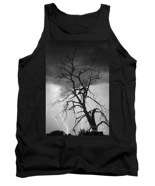 Lightning Tree Silhouette Portrait Bw Tank Top
