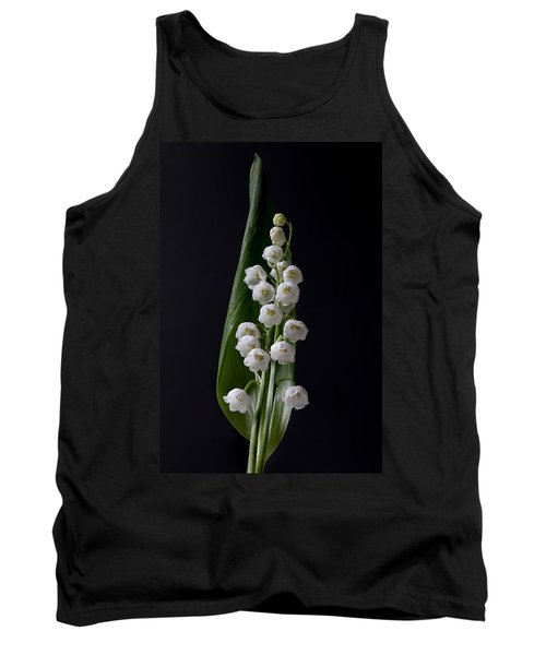 Lily Of The Valley On Black Tank Top