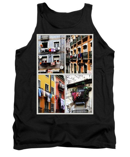 Tank Top featuring the photograph Lisbon Laundry by Lorraine Devon Wilke