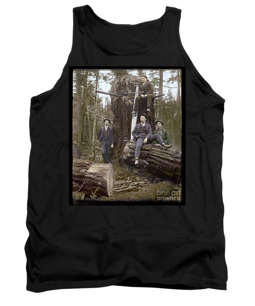 Tank Top featuring the photograph Loggers Sunday Best 1911 by Martin Konopacki Restoration