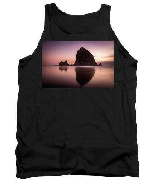 Tank Top featuring the photograph Long Exposure Of Haystack Rock At Sunset by Pierre Leclerc Photography