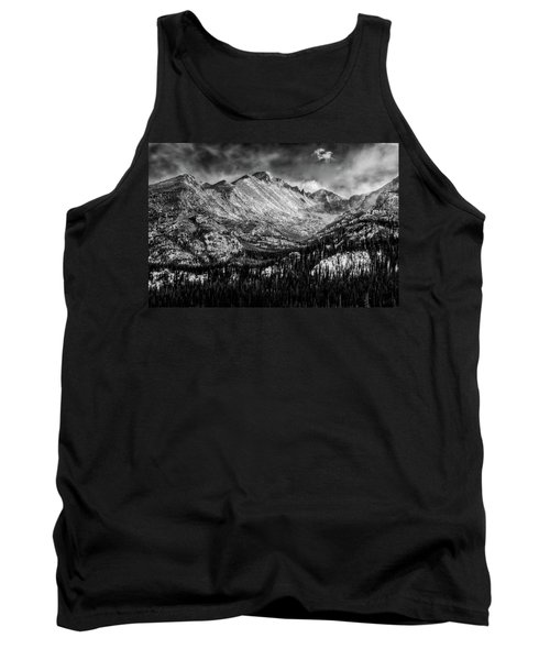 Longs Peak Rocky Mountain National Park Black And White Tank Top