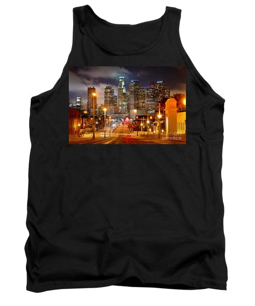 Los Angeles Skyline Night From The East Tank Top by Jon Holiday