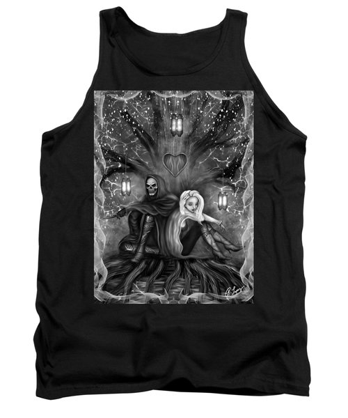 Tank Top featuring the painting Love Is Complicated - Black And White Fantasy Art by Raphael Lopez