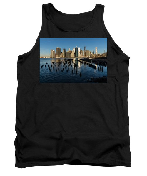 Luminous Blue Silver And Gold - Manhattan Skyline And East River Tank Top