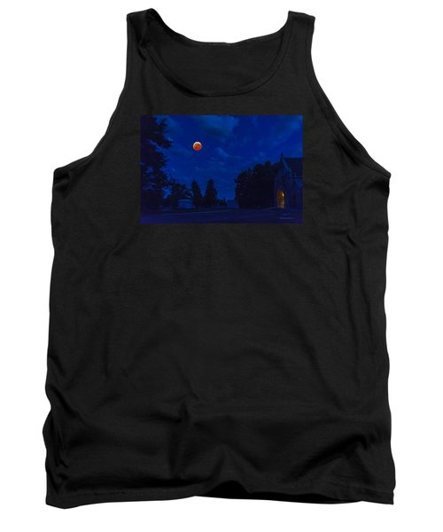Lunar Eclipse At The Ivy Chapel Tank Top by Stephen  Johnson