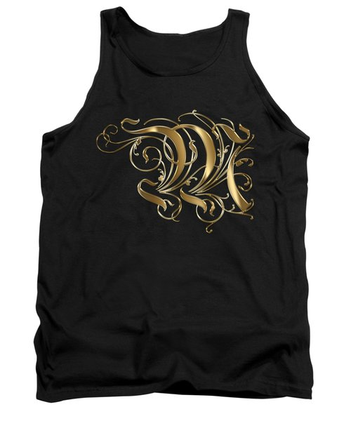 M Golden Ornamental Letter Typography Tank Top