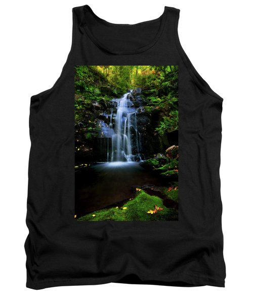 Magical Waterfall Above Spruce Falls In Tremont Smoky Mountains Tennessee  Tank Top