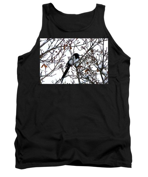 Tank Top featuring the photograph Magpie In A Snowstorm by Will Borden