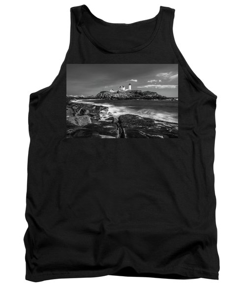 Tank Top featuring the photograph Maine Cape Neddick Lighthouse In Bw by Ranjay Mitra