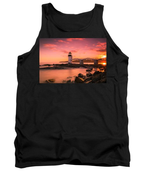 Maine Lighthouse Marshall Point At Sunset Tank Top