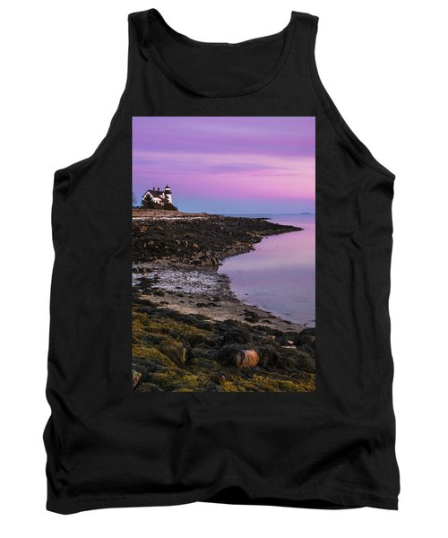 Tank Top featuring the photograph Maine Prospect Harbor Lighthouse Sunset In Winter by Ranjay Mitra