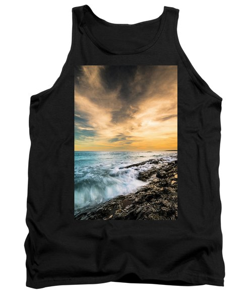 Tank Top featuring the photograph Maine Rocky Coastal Sunset by Ranjay Mitra