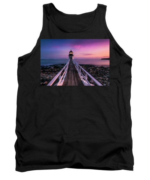 Tank Top featuring the photograph Maine Sunset At Marshall Point Lighthouse by Ranjay Mitra