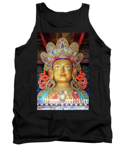 Tank Top featuring the photograph Maitreya Buddha Statue by Alexey Stiop