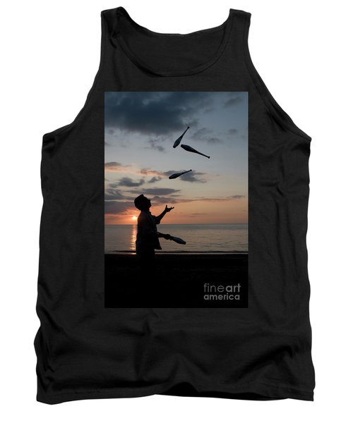Man Juggling With Four Clubs At Sunset Tank Top