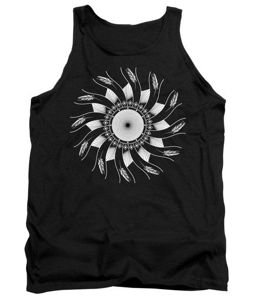 Tank Top featuring the digital art Mandala White And Black by Linda Lees