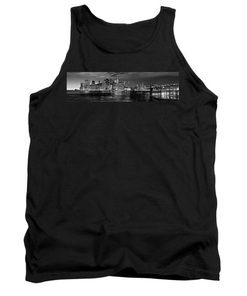 Manhattan Skyline At Dusk From Broklyn Bridge Park In Black And  Tank Top
