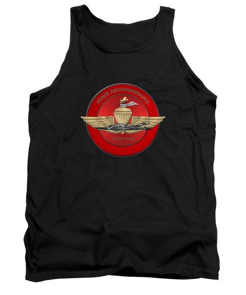 Marine Force Reconnaissance  -  U S M C   F O R E C O N  Insignia Over Black Velvet Tank Top