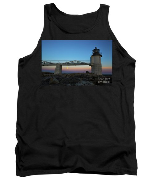 Marshall Point Lighthouse With Full Moon Tank Top by Diane Diederich