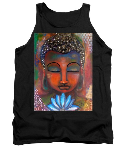 Meditating Buddha With A Blue Lotus Tank Top