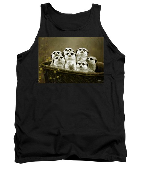 Tank Top featuring the digital art Meerkats by Thanh Thuy Nguyen