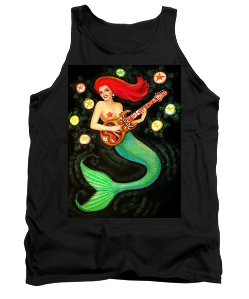 Mermaids Rock Tiki Guitar Tank Top by Sue Halstenberg