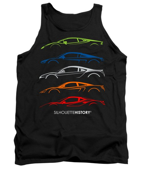 Mid-engine Sports Cars Silhouettehistory Tank Top
