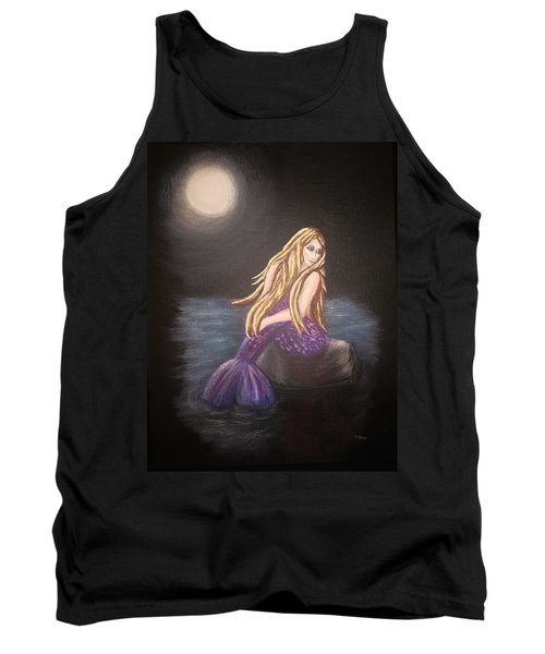 Tank Top featuring the painting Midnight Mermaid by Teresa Wing