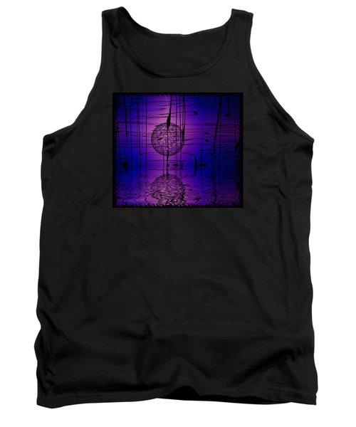 Tank Top featuring the digital art Midnight Reeds by Mario Carini