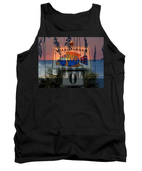 Tank Top featuring the photograph Mile Marker 0 Sunset by David Lee Thompson