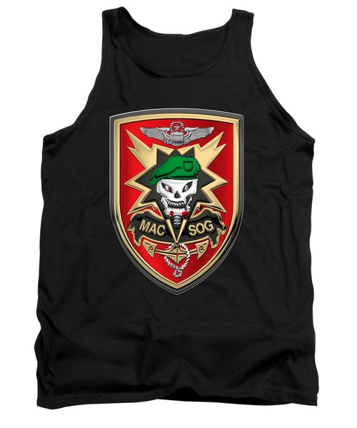 Military Assistance Command, Vietnam Studies And Observations Group Patch Over Black Velvet Tank Top by Serge Averbukh