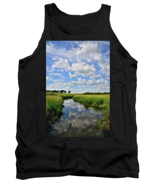 Mirror Image Of Clouds In Glacial Park Wetland Tank Top