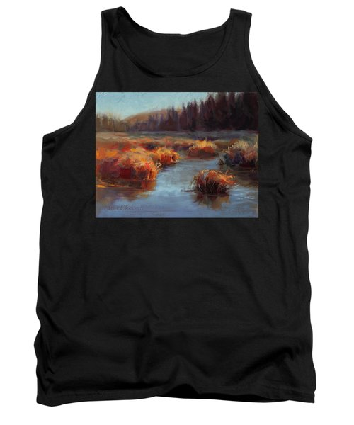 Tank Top featuring the painting Misty Autumn Meadow With Creek And Grass - Landscape Painting From Alaska by Karen Whitworth